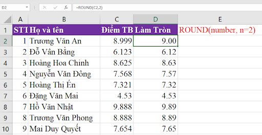 Hàm round trong excel.